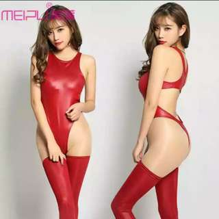 FAux leather swimsuit with stocking many colours