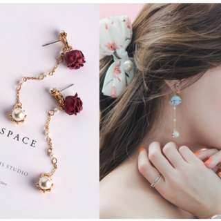預購款-(可代改耳夾) 花朵長墜珍珠耳環