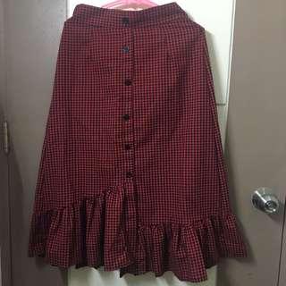 Korean Asymmetrical Checkered Skirt