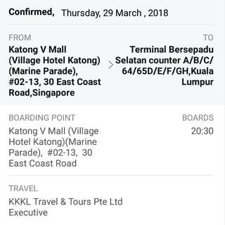 Bus ticket to KL (29 March 2018)