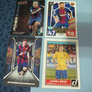 Lionel Messi Barcelona trading cards (Lot of 4 cards) for trade/sale