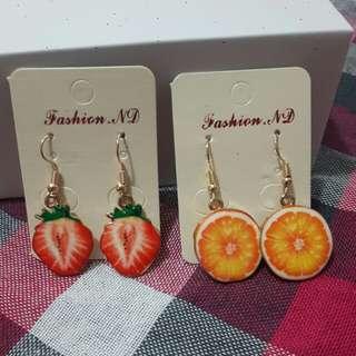 全新水果造型耳環(草莓/柳橙)