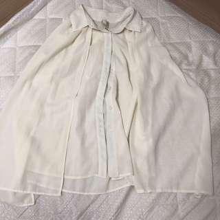 🚚 米白色垂紡無袖上衣