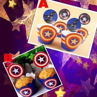💥 Superheroes Capt America party supplies - cupcake toppers & wrappers/ dessert deco / party deco