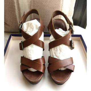 Massimo Dutti   leather heel sandals shoes  ###Size 39