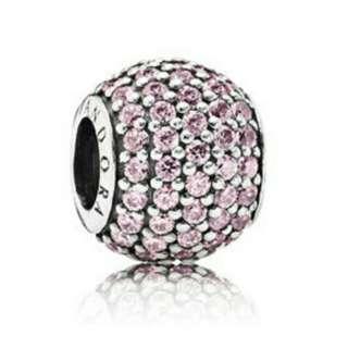 Aithentic Pandora Pink Pave Ball Charm