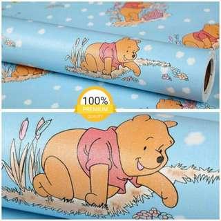 Grosir murah wallpaper sticker dinding biru kartun anak winny the pooh