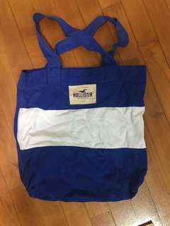 Hollister classic blue and white stripe tote