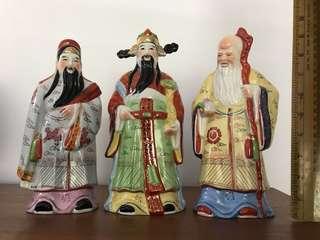 "Fu Lu Shou 9"" Porcelain Figurines Collectible"