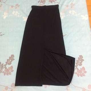 黑色棉質開衩長裙