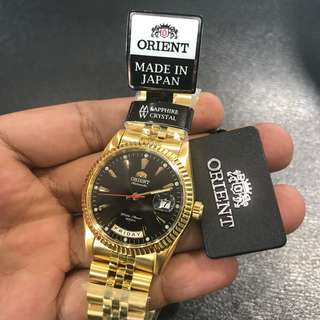 Brand New Gold Orient Automatic Made in Japan Watch Classic Black Jubilee FREE DELIVERY Oyster Date Just