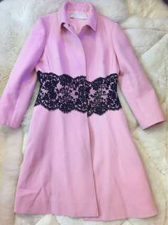 Valentino pink coat with French lace
