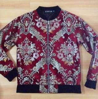 Brand New Silk Brocade Bomber Jacket