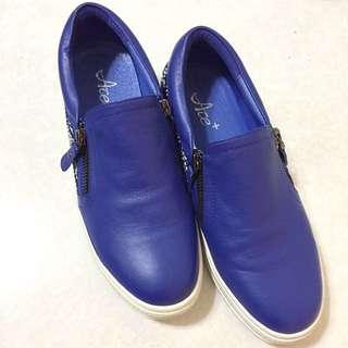 Ace+寶藍色真皮懶人鞋#24.5