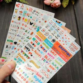 Cute Sticker decor for Scrapbooking / Diary / Planner / Photo / Album (6 sheets)