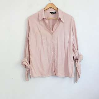 [RESERVED] Vintage Style Matte Pink Tied Wrist Longsleeve Top Blouse