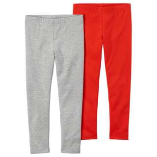BNIB Carters 2pack leggings Red/Grey 4/5