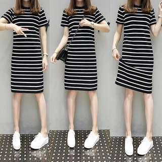 (XL~5XL) New summer ice silk knit elastic short-sleeved black and white striped dress