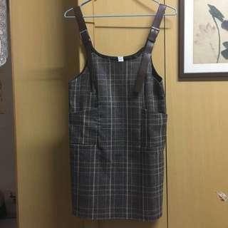 日本帶回皮帶格紋吊帶裙 質感很好 全新