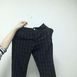 直筒格子長褲