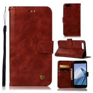 華碩Asus Zenfone 4 ZE554KL復古酒紅色電話皮套 保護套 保護殼 連電話繩