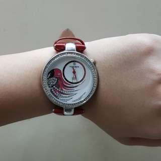 Akribos XXIV Women's Water Resistant Parrot Dial Leather Red Strap Watch