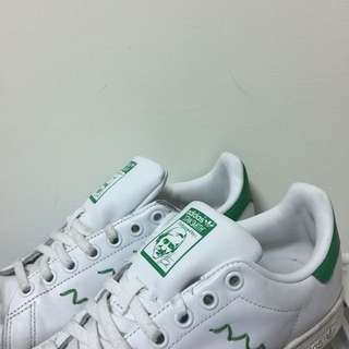 addidas stain smith 綠尾波浪小白鞋