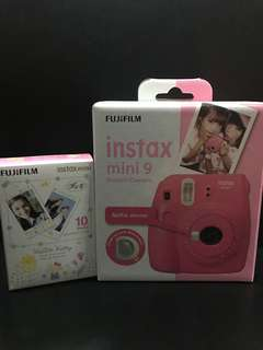 Brand New - FujiFilm Instax Mini 9 Instant Camera(Flamingo Pink) + FREE 1 Box of Hello Kitty Instant Film (10 sheets)