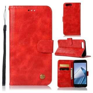 華碩Asus Zenfone 4 ZE554KL復古紅色電話皮套 保護套 保護殼 連電話繩