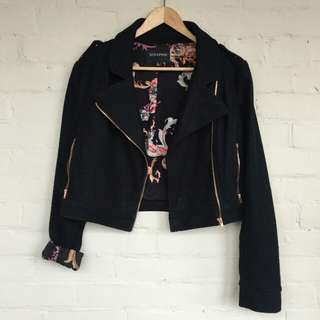 Minkpink black wool moto jacket
