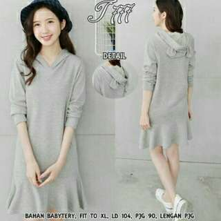 OT - DRESS KUPING  66000 bahan babytery tebal, fit to XL, LD 104, pjg 90, lengan pjg, blkg topi kuping