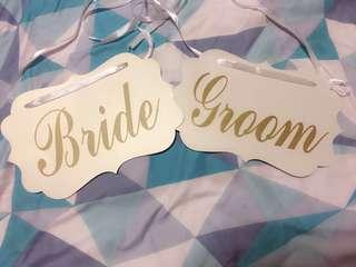 Bride & Groom Chair Sign ( ROM / Wedding )