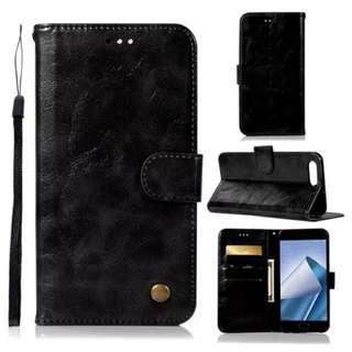 華碩Asus Zenfone 4 ZE554KL復古黑色電話皮套 保護套 保護殼 連電話繩