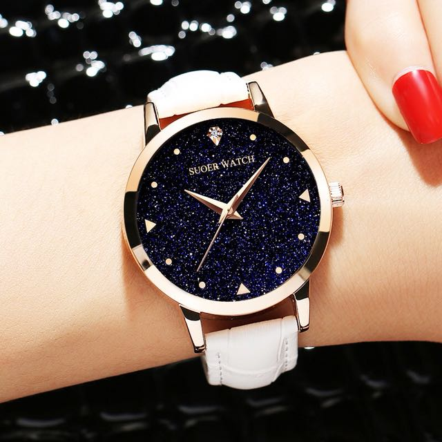 韓版滿天星休閒時尚水鑽防水石英錶皮帶女錶