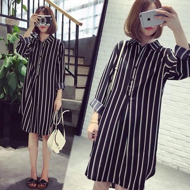 韓版條紋寬鬆長版襯衫上衣連身裙洋裝