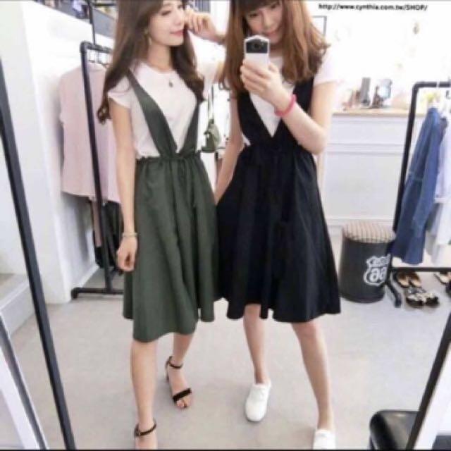 墨綠吊帶裙