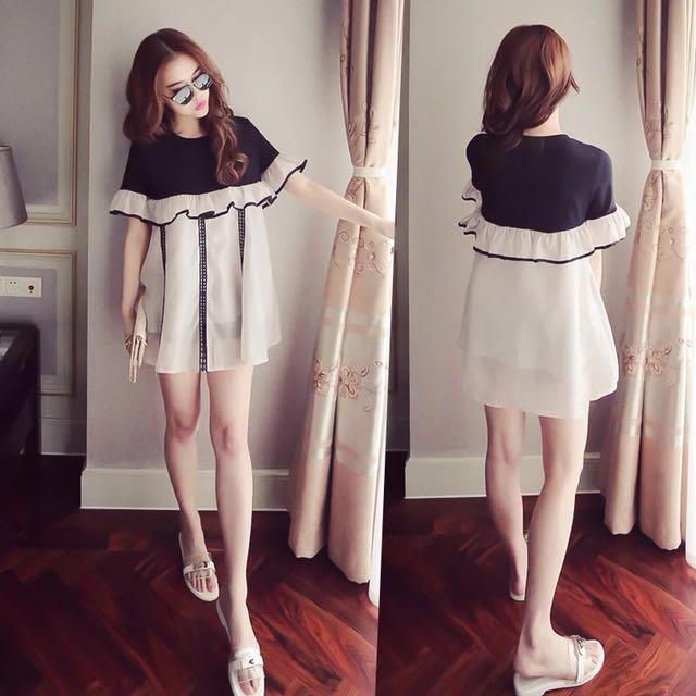 韓版氣質寬鬆娃娃裝荷葉邊雪紡連身裙洋裝長版上衣