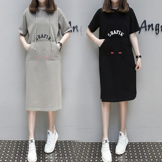 韓版短袖連帽連衣裙連身裙顯瘦包臀女裝
