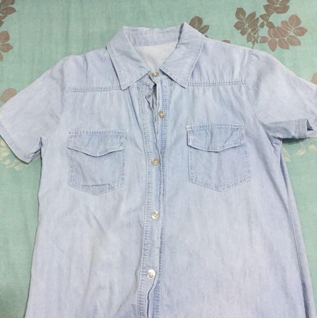 淺藍襯衫長洋裝