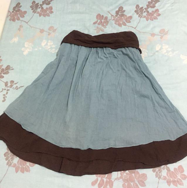 泰國設計款平口綁帶雙色棉麻洋裝