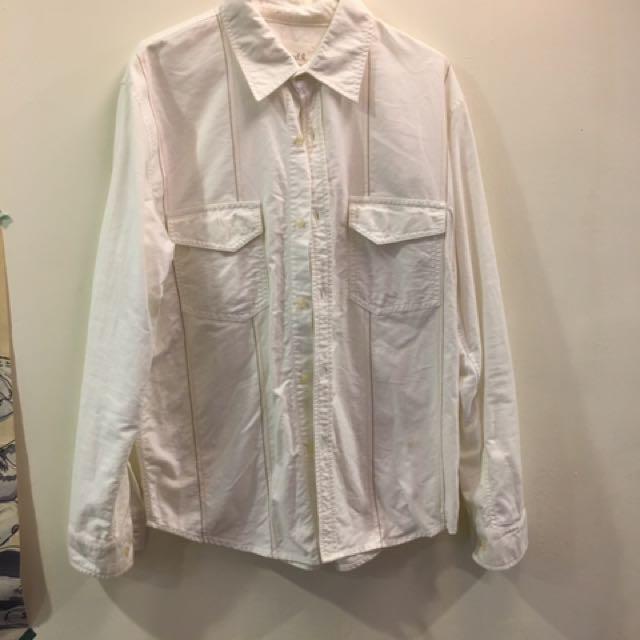 米白色 長袖襯衫 襯衫 素色 刺繡 古著 復古 無印良品 muji uniqlo 可參考