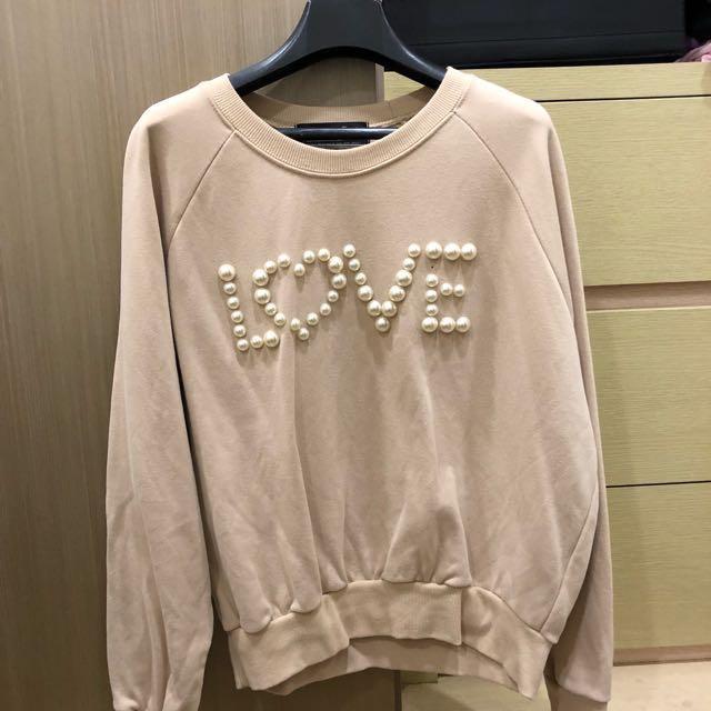 韓版 杏色珍珠Love 衛衣 長袖上衣 舒適棉質