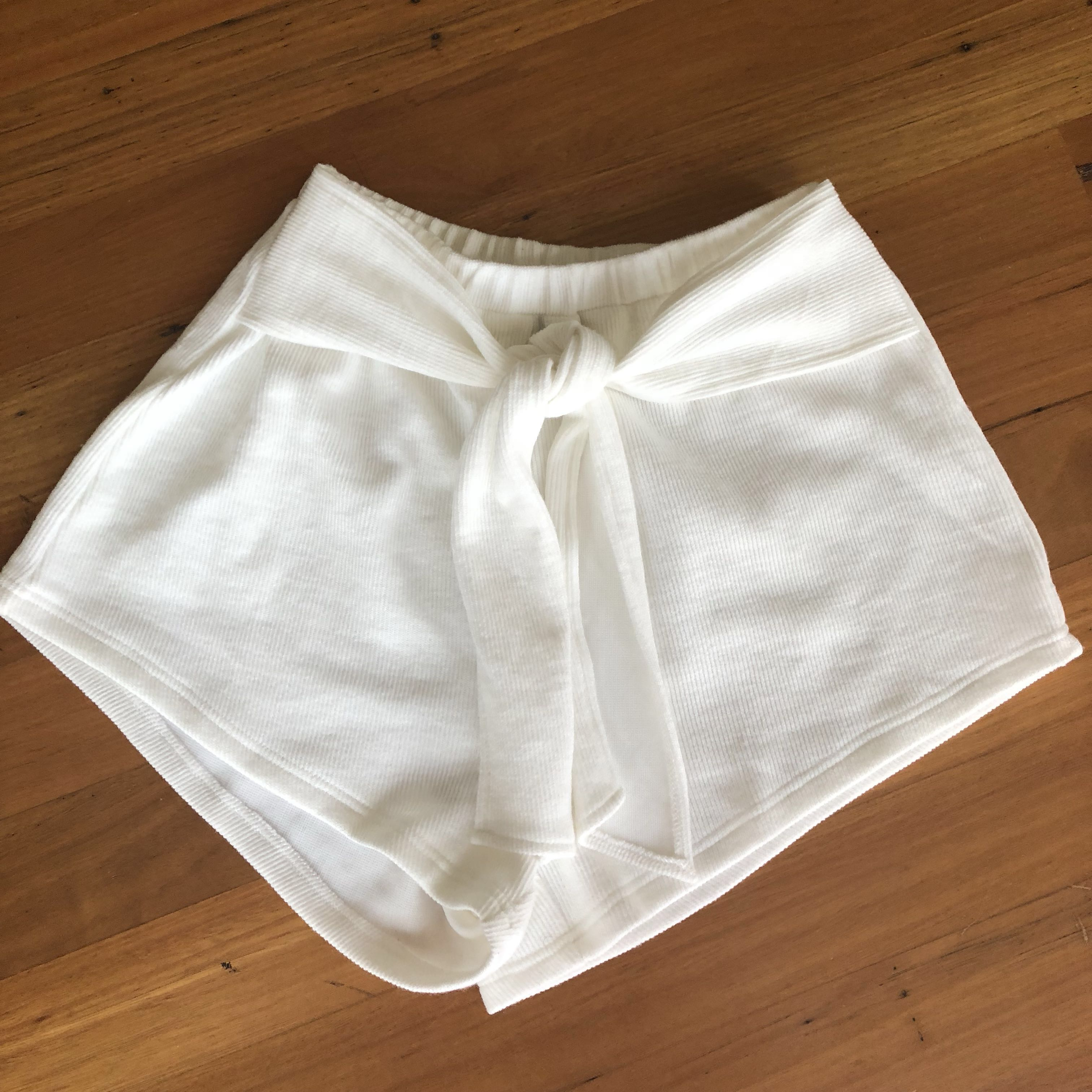 White Ribbed Tie Shorts