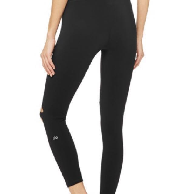 7f959c36256c7 Alo Yoga Ripped Warrior 7/8 Leggings (Black). S Size. , Sports, Sports  Apparel on Carousell
