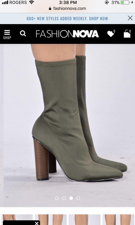 Army Green Fashion Nova Sock Boot
