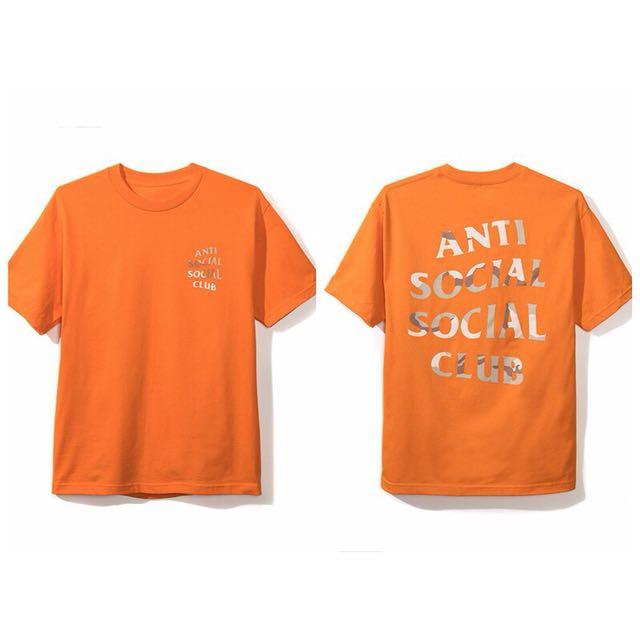 ASSC antisocialsocialclub 邊緣人  橘色 迷彩字體 短T