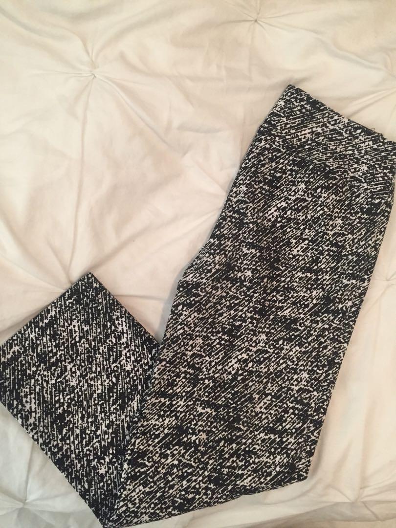 Black/White Print cropped dress pants