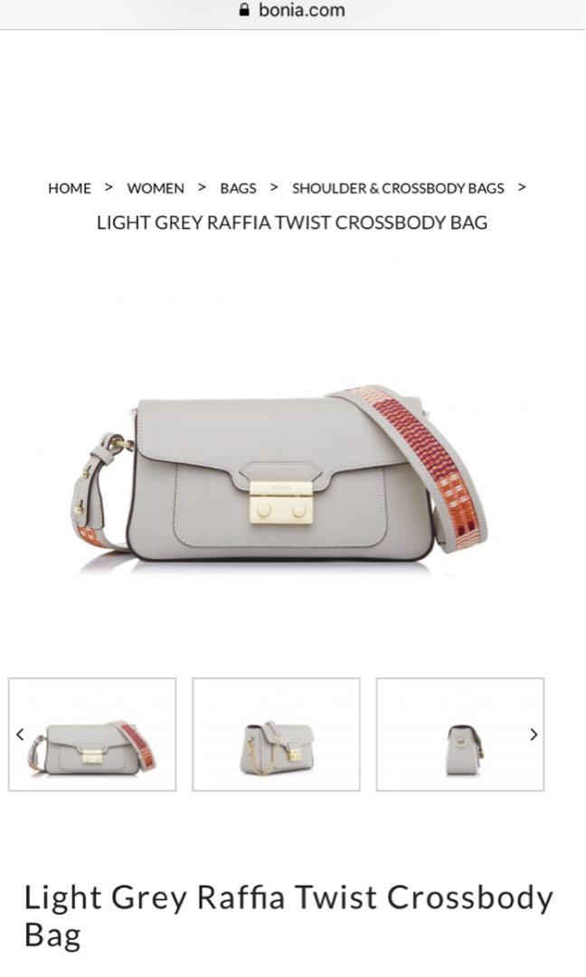 BONIA Light Grey Raffia Twist