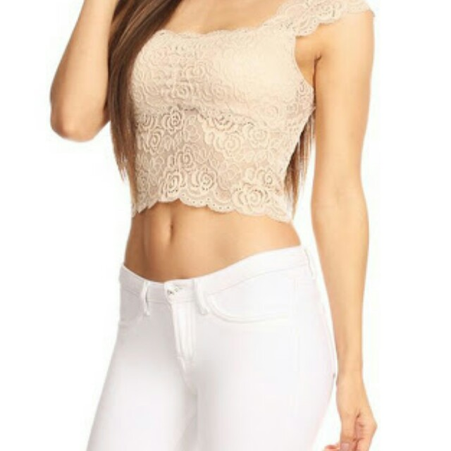 brown lace croptop