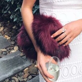 Burgundy Fluffy Faux Fur Bag Clutch 89f101a52a6ee